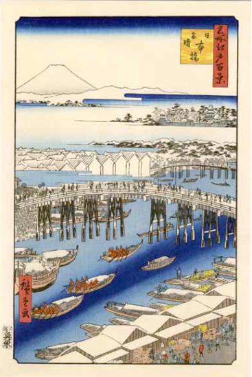 vue 1 - Le Pont Nihonbashi. Temps clair après une chute de neige.